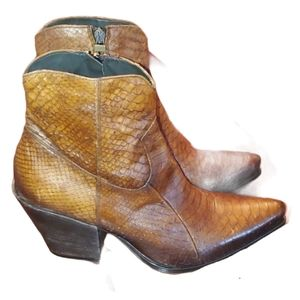 Jo Ghost Snake Skin Print Leather Booties